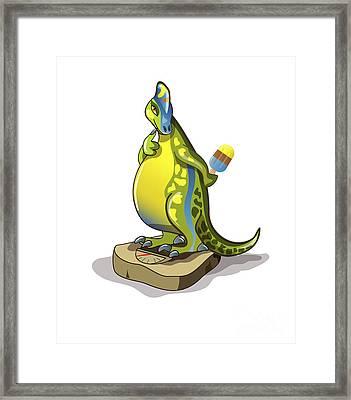 Illustration Of A Lambeosaurus Standing Framed Print by Stocktrek Images