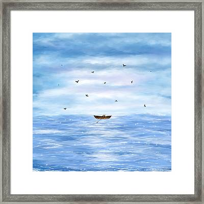 Illustration Of A Lonely Boat Framed Print