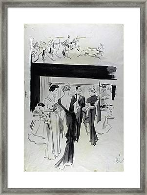 Illustration Of A Man And Women At The Plaza Framed Print by Jean Pages