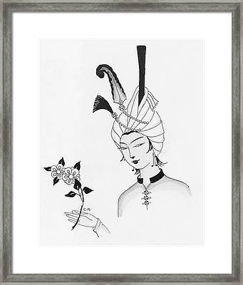 Illustration Of A Man Wearing A Headdress Framed Print