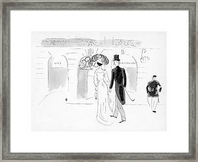 Illustration Of A Nineteenth Century Couple Framed Print by Oberle