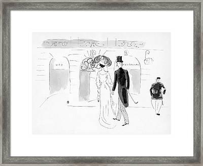 Illustration Of A Nineteenth Century Couple Framed Print
