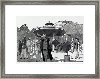Illustration Of A People At A Fountain In Aix Les Framed Print by Pierre Mourgue