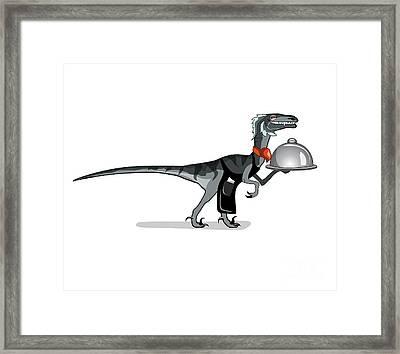 Illustration Of A Raptor Food Waiter Framed Print by Stocktrek Images