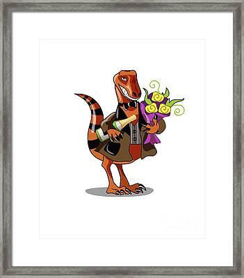 Illustration Of A Raptor Holding Framed Print by Stocktrek Images