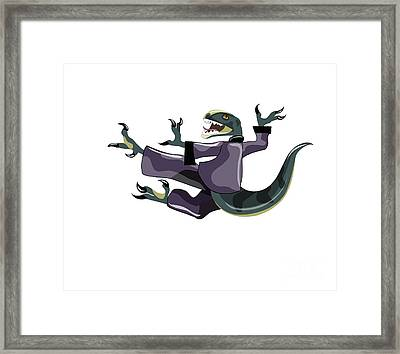 Illustration Of A Raptor Performing Framed Print by Stocktrek Images