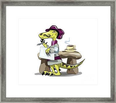 Illustration Of A Raptor Poet Thinking Framed Print by Stocktrek Images