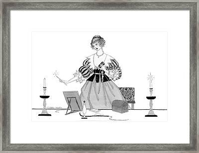 Illustration Of A Seventeenth Century Woman Framed Print