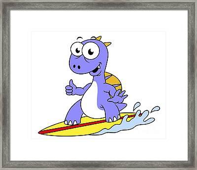 Illustration Of A Surfing Spinosaurus Framed Print by Stocktrek Images
