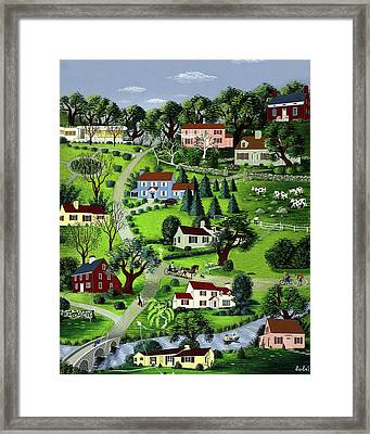 Illustration Of A Village Framed Print