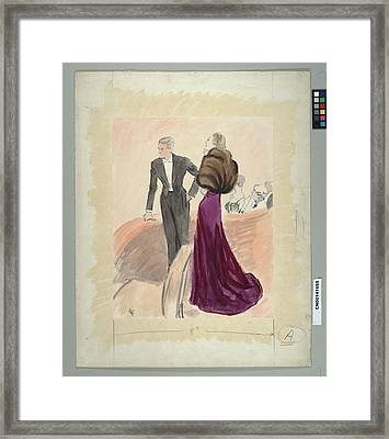 Illustration Of A Woman And Man Dressed Framed Print by Carl Oscar August Erickson