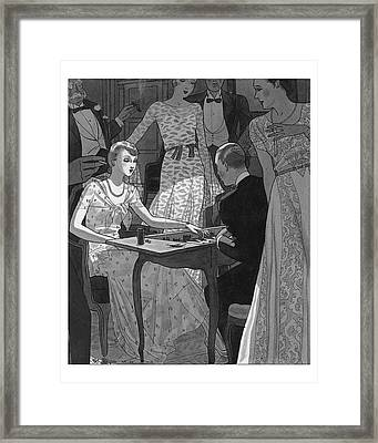 Illustration Of A Woman And Man Playing Backgammon Framed Print by Pierre Mourgue