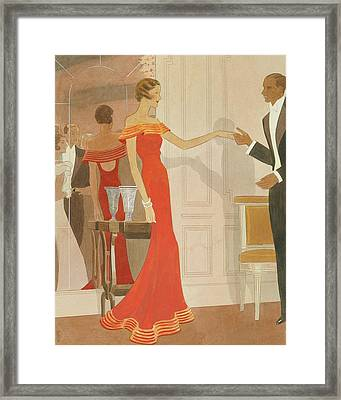 Illustration Of A Woman At A Debutante Ball Framed Print