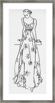 Illustration Of A Woman In A Dress Framed Print