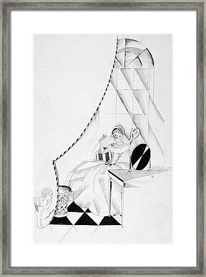 Illustration Of A Woman In A Wedding Dress Framed Print by John Barbour