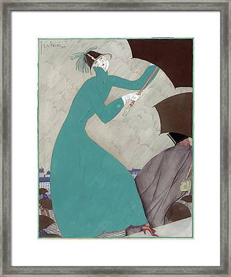 Illustration Of A Woman In The Rain Framed Print