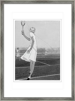 Illustration Of A Woman Playing Tennis Framed Print
