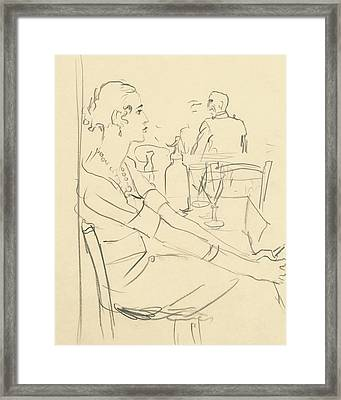 Illustration Of A Woman Sitting Down Framed Print