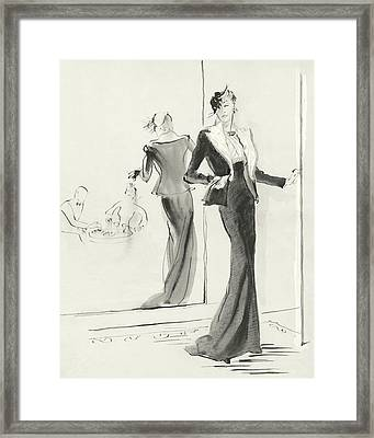 Illustration Of A Woman Standing Beside A Mirror Framed Print