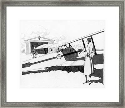 Illustration Of A Woman Standing Next To A Biplane Framed Print by Pierre Mourgue