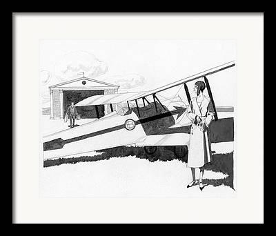 Passenger Plane Digital Art Framed Prints