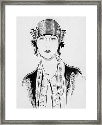 Illustration Of A Woman Wearing A Hat Framed Print by Porter Woodruff