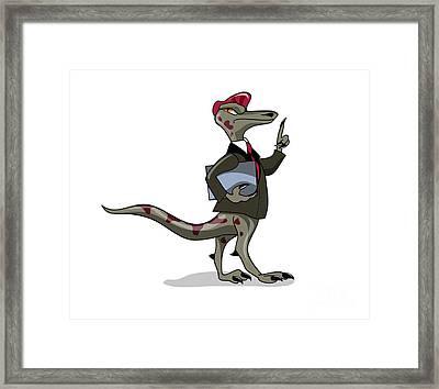Illustration Of An Iguanodon Clerk Framed Print by Stocktrek Images