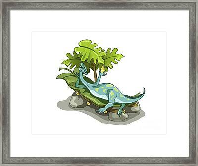 Illustration Of An Iguanodon Sunbathing Framed Print by Stocktrek Images