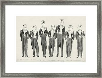 Illustration Of Bachelors In Tuxedos Framed Print