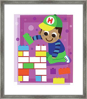 Illustration Of Boy Making Letter H With Blocks Framed Print by Fanatic Studio / Science Photo Library