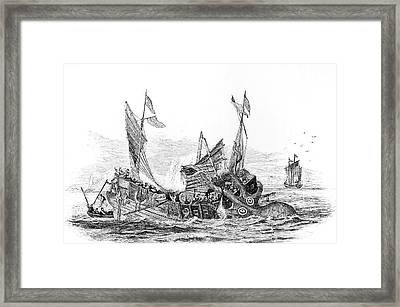 Illustration Of Colossal Sea Monster Framed Print