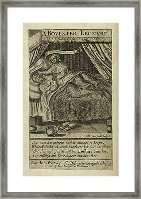 Illustration Of Couple In Bed Framed Print by British Library