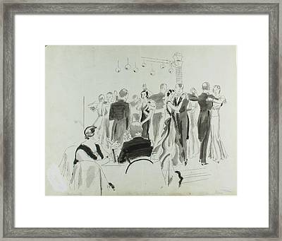 Illustration Of Elsa Maxwell's Birthday Party Framed Print by Jean Pages
