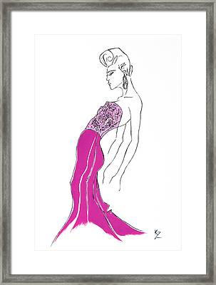 Illustration Of Fashion Model In Pink Sequin Dress. Framed Print by Kate Zucconi