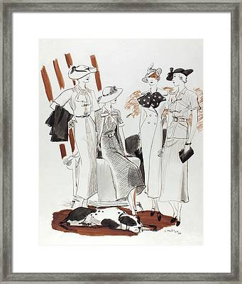 Illustration Of Four Models In Luncheon Costumes Framed Print by Jean Pages