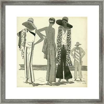Illustration Of Four Women At A Beach Framed Print