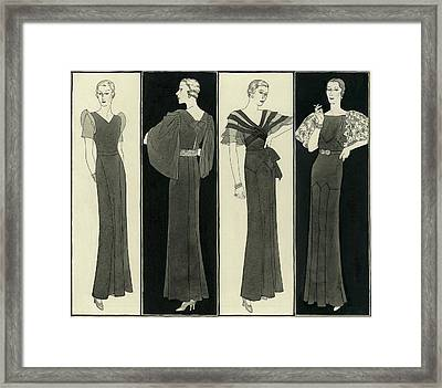 Illustration Of Four Women In Evening Dresses Framed Print by Polly Tigue Francis