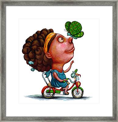 Illustration Of Girl Playing With Butterfly Framed Print by Fanatic Studio / Science Photo Library
