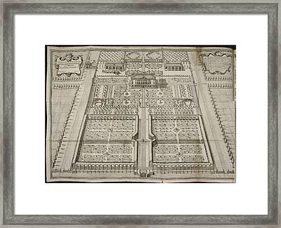 Illustration Of House And Formal Garden Framed Print