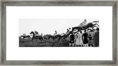 Illustration Of Jockeys Riding Horses Framed Print