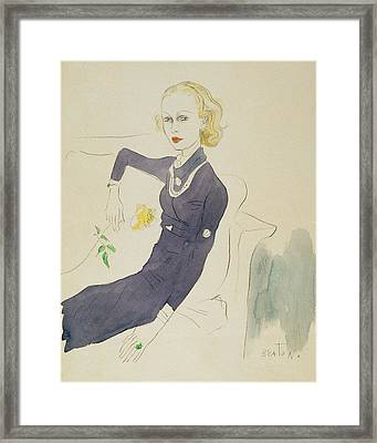 Illustration Of Lady Abdy Sitting On Sofa Framed Print by Cecil Beaton