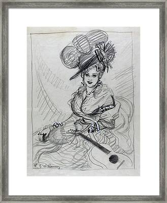 Illustration Of Mae West Wearing An Ostrich Framed Print