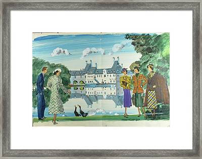 Illustration Of Man And Woman Feeding Ducks Framed Print by Jean Pages