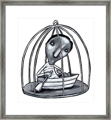 Illustration Of Man With Boat In Cage Framed Print by Fanatic Studio / Science Photo Library