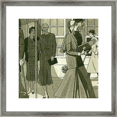 Illustration Of Men And Women Exiting Building Framed Print