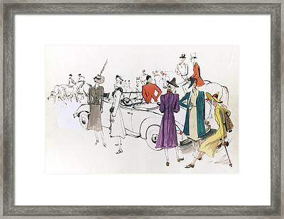 Illustration Of Models And Equestrian Hunters Framed Print