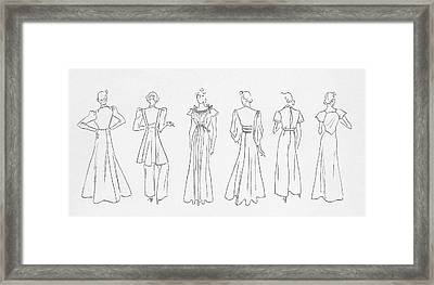 Illustration Of Models Wearing Evening Outfits Framed Print by Artist Unknown
