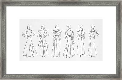 Illustration Of Models Wearing Evening Outfits Framed Print