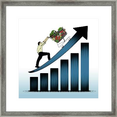 Illustration Of Price Rising Framed Print by Fanatic Studio / Science Photo Library