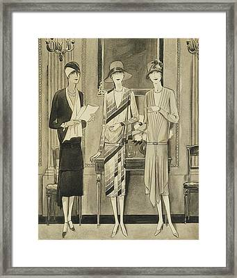Illustration Of Three Fashionable Women Framed Print